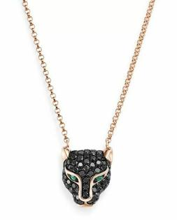 0.50 Ct Emerald and Black Diamond Panther Pendant Necklace 1