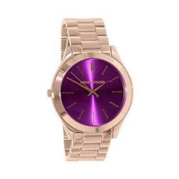 100% New Michael Kors MK3293 Slim Runway Rose Gold Purple Di