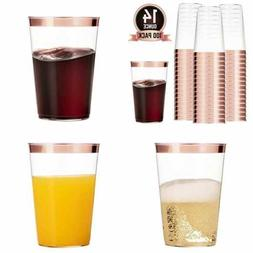 100 ROSE GOLD Plastic Cups 14 Oz Clear Tumblers Rimmed Fancy