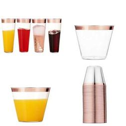 100 ROSE GOLD Plastic Cups 9 Oz Clear Old Fashioned Tumblers