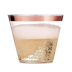 100 Rose Gold Plastic Cups – 9 Oz Clear Fancy Disposable W