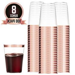 100 Rose Gold Plastic Cups Clear Plastic Cups Tumblers Rose
