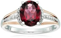 10k Pink and White Gold Oval Rhodolite and Diamond Ring , Si