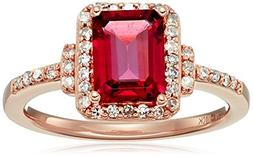 10k Pink Gold Rhodolite and Diamond Octagon Ring , Size 7