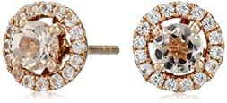 10k Rose Gold Morganite and Created White Sapphire Round Hal