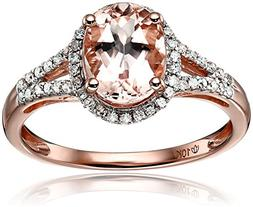 10k Rose Gold Morganite and Diamond Oval Halo Engagement Rin