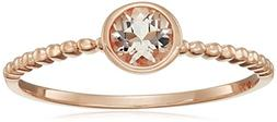 10k Rose Gold Morganite Round Solitaire Beaded Shank Stackab
