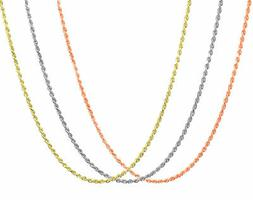 10K & 14K Rose White Yellow Gold 1.5mm-2.5mm Rope Chain Pend