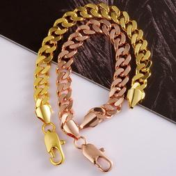 10mm Men Boy Chain Round Curb Cuban Link Rose Gold Filled Br