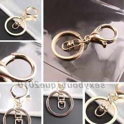 10pcs Rose Gold Plated Lobster Clasp Key Ring Keychains Secu