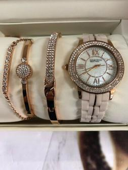 Anne Klein 12/2298RGST Ceramic Rose Gold Tone Crystal Watch