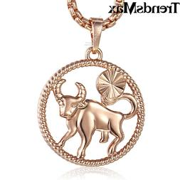 12 Zodiac Sign Constellation Rose Gold Filled Pendant Neckla