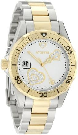 Invicta Women's 12287 Pro Diver Silver Heart Dial Two Tone S