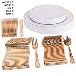 "125 Disposable Plastic Tableware Set | 25 10"" Dinner Plate"