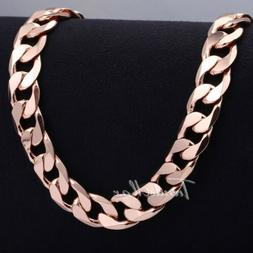 12MM Rose Gold Filled Curb Cuban Link Necklace Womens Mens U
