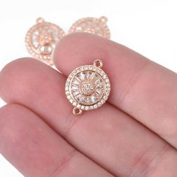 13mm Rose Gold Charm, Micro Pave Cubic Zirconia Crystals, Co