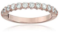 14k Rose Gold 2.5mm Shared Prong Wedding Band Stackable Ring