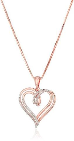 14k Rose Gold over Sterling Silver Diamond Double Heart Pend