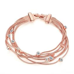 14K Rose Gold Plated Bracelet Made with Swarovski Crystals S