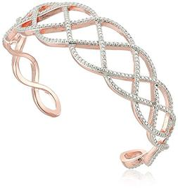 14k Rose Gold Plated Sterling Silver Diamond Accent Cuff Bra