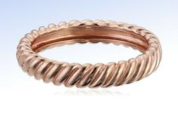 14k ROSE Gold-Plated Sterling Silver Twisted Band Ring - Siz