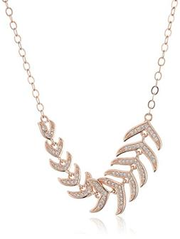 14k Rose Gold Plated Sterling Silver White Cubic Zirconia Le