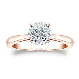 14k rose gold round cut diamond solitaire