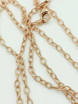 14k Rose Gold Textured Oval Cable Link Pendant Necklace Chai