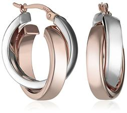 14k White and Rose Gold Two-Tone Satin and Polished Crossove