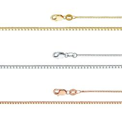 14k Yellow White or Rose Gold - 0.5-0.8 mm Classic Box Chain