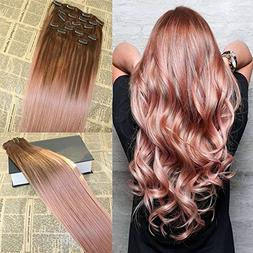 16'' Full Head Balayage Clip Ins Hair Extensions Rose Gold R
