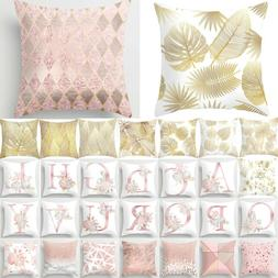 """18"""" Pink and Rose Gold Cushion Covers Floral Throw Waist Pil"""