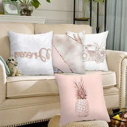 Rose Gold Pillow Case Polyester Geometric Cushions Cover Bed