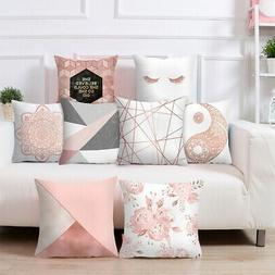 Rose Gold Pillowcase Polyester Geometric Cushions Cover Bed