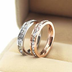 18K Gold/Silver/Rose Gold CZ Titanium Steel Rings Women's We