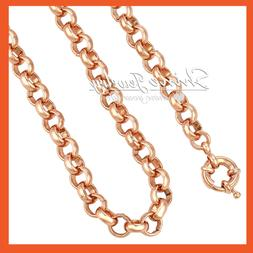18K ROSE GOLD FILLED BELCHER CHAIN RINGS LINKS SOLID LADIES