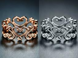 Sevil 18K Rose Gold or White Gold Plated Filigree Heart Wide