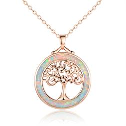 Sevil 18K Rose Gold Plated Created Opal Tree of Life Pendant