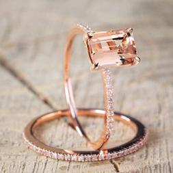 18K Rose Gold Princess Cut Champane Topaz Set Rings Women's