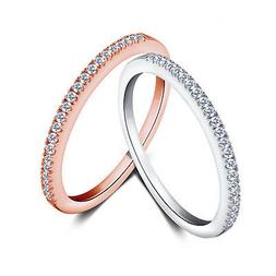 18K Rose Gold/Silver Wedding Band Women's 925 Silver Cz Jewe