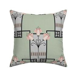 1920S Rose Gold Sage Green Throw Pillow Cover w Optional Ins