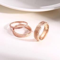 2/4/6mm Rose Gold Frosted Titanium Steel Wedding Band Ring M
