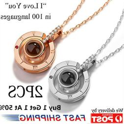 2 Pcs - I LOVE YOU In 100 Languages 18K Gold Pendant Necklac