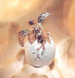 2-TONE ROSE GOLD PLATED 925 SILVER HAWAIIAN BABY TURTLE EGG