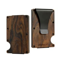 2018 New Wood Credit Card Holder Wooden Case Mini RFID Metal