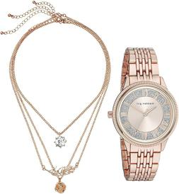 Steve Madden 237776 Womens Fashion Classic Watch and Necklac