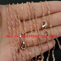 """24"""" Inch 18k Rose Gold Plated Water Waive Chain Necklace - 2"""