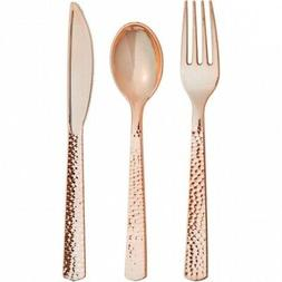 24 x Premium Quality Hammered Rose Gold Plastic Cutlery Set