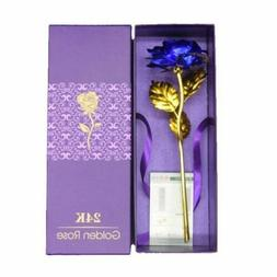 24k Gold Plated Blue Rose Flowers Anniversary Mothers Day Gi