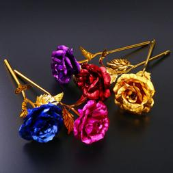 24k Gold Plated Golden Rose Flowers Anniversary Mothers Day